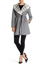 Dkny Plaid Shawl Collar Coat Gray