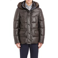 Moorer Channel Quilted Leather Philip Down Parka Brown
