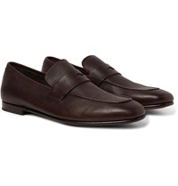 Dunhill Textured Leather Penny Loafers Brown