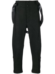 Lost And Found Ria Dunn Cropped High Waisted Trousers Men Cotton Polyamide Acetate Wool M Black