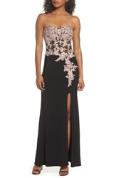 Blondie Nites 'S Applique Strapless Bustier Gown Black Rose