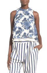 Women's Astr Mock Neck Layered Tank Blue Floral