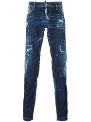Dsquared2 Slim Bleached Effect Jeans Blue