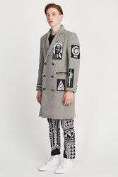 Ktz Double Breasted Patches Long Coat Grey
