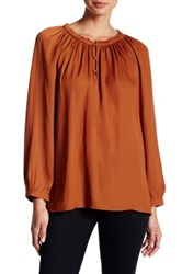 14Th And Union Ruffle Peasant Blouse Rust Bisque