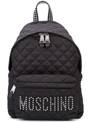 Moschino Quilted Stud Logo Backpack Women Polyamide One Size Black