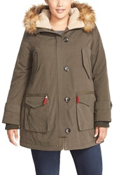 Gallery Faux Fur And Faux Shearling Trim Parka Plus Size Olive