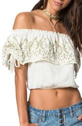 O'neill Women's X Natalie Off Duty Dana Off The Shoulder Knit Crop Top Naked