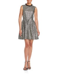 Belle By Badgley Mischka Textured Metallic Fit And Flare Dress Grey Black