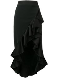 David Koma Ruffled Hem Flounce Skirt Black
