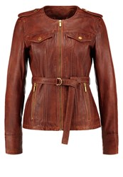 Michael Michael Kors Leather Jacket Cognac