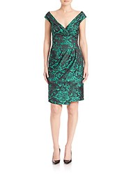 Kay Unger Draped Brocade Dress Jade