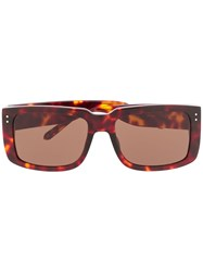 Linda Farrow Tortoiseshell Rectangle Frame Sunglasses 60