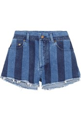 Saint Laurent Cut Off Striped Stretch Denim Shorts Mid Denim