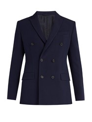 Connolly Double Breasted Peak Lapel Blazer Navy
