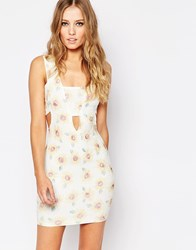 Ax Paris Cut Out Front Dress In Textured Sunflower Print Cream
