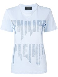 Philipp Plein Embellished Logo T Shirt Blue