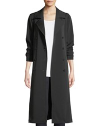 Eileen Fisher Long Double Breasted Trench Coat Black