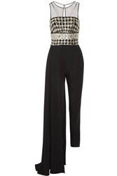 Zuhair Murad Layered Embellished Tulle And Silk Cady Jumpsuit Black