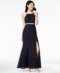 Trixxi Juniors' Embellished Soutache Gown Navy