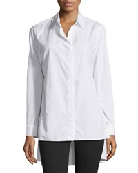 Neiman Marcus Oversized High Low Cotton Blouse White