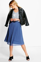Boohoo Chiffon Pleated Midi Skirt Vintage Blue