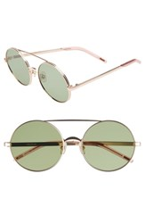 Wildfox Couture Ace 55Mm Round Sunglasses Rose Gold Bottle Green Solid Rose Gold Bottle Green Solid
