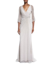 Jenny Packham 3 4 Sleeve Embellished Wrap Gown Abusson Blue Dawn