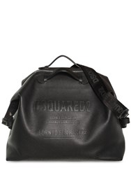 Dsquared Embossed Leather Duffle Bag Black