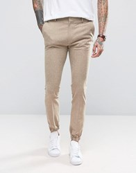 Asos Super Skinny Smart Joggers In Beige Nepp Fabric Brown Grey