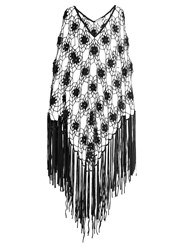 My Beachy Side Fringed Crochet Knit Poncho Black