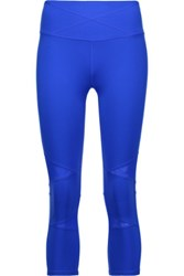 Yummie Tummie By Heather Thomson Leah Cropped Mesh Trimmed Stretch Jersey Leggings Bright Blue