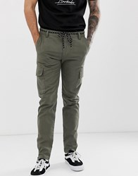 Your Turn Yourturn Skinny Cargo Trouser In Khaki With Ankle Zips Green
