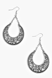 Boohoo Engraved Hoop Earrings Silver