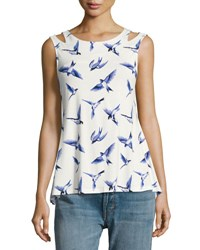 Neiman Marcus Cutout Shoulder Swing Tank White Blue