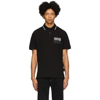 Versace Jeans Couture Black Institutional Logo Patch Polo