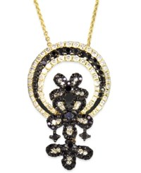 Effy Collection Effy Black And White Diamond Flower Necklace In 14K Gold 1 1 6 Ct. T.W.