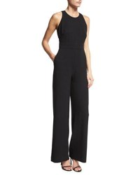 Catherine Malandrino Sleeveless Full Leg Crepe Jumpsuit Black