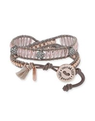 Lonna And Lilly Crystal Faceted Wrap Bracelet Grey
