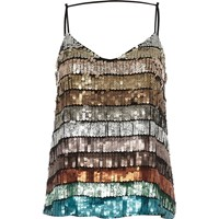 River Island Blue Multi Coloured Sequin Cami Top