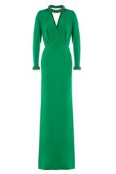 Emilio Pucci Floor Length Silk Gown With Embellished Neck And Cuffs Green