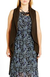 City Chic Plus Size Women's Sleeveless Drape Front Long Cardigan