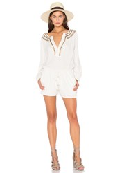 Twelfth St. By Cynthia Vincent Neck Detail Drawstring Romper White