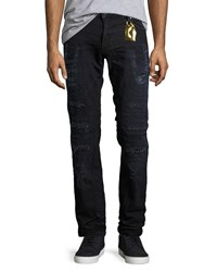 Robin's Jeans Distressed Moto Skinny Black