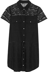 Marissa Webb Eda Lace Paneled Cotton Blend Mini Dress Black