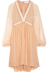 Chloe Plisse Silk Georgette Mini Dress Blush
