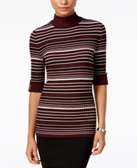 Styleandco. Style Co. Petite Striped Mock Neck Sweater Only At Macy's Dried Plum Combo