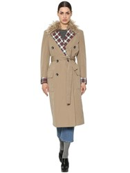 Isa Arfen Canvas Trench Coat W Wool And Plaid Beige