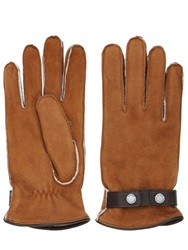 Mario Portolano Shearling Gloves With Snap Button Strap