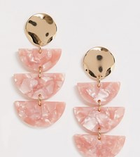 Accessorize Exclusive Pink Resin And Gold Mix Tiered Earrings